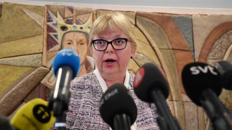 Swedish Vice Chief Prosecutor Eva-Marie Persson speaks at a press briefing in Uppsala, Sweden, in June [Fredrik Sandberg via Reuters]