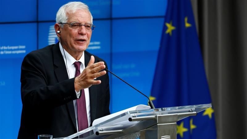 Borrell chaired a EU foreign ministers emergency meeting to discuss the Iran nuclear deal [Francois Lenoir/Reuters]