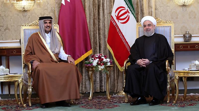 Sheikh Tamim held talks with Iranian President Hassan Rouhani on his first trip to the country [Handout via Reuters]