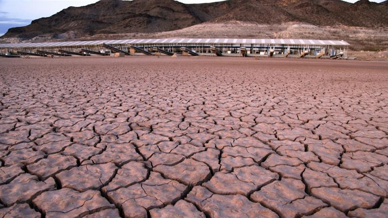 What was once a marina sits high and dry in the Lake Mead National Recreation Area in Arizona [File: John Locher/AP]