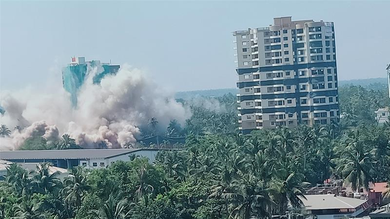 The building complexes demolished on Sunday comprised some 340 apartments, valued at close to $47m [Leena Reghunath/Al Jazeera]