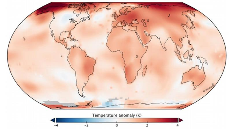 Global mean temperatures in 2019 were 0.98 degrees Celsius (1.8 degrees Fahrenheit) above the 1951-1980 baseline [NASA/NOAA]