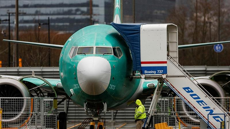 Boeing's 737 MAX plane was grounded worldwide after two crashes over a five-month span killed 346 people in Ethiopia and Indonesia [File: Lindsey Wasson/Reuters]