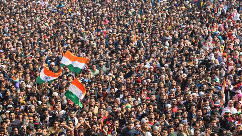 Thousands turned up for the Republic Day event at Shaheen Bagh in New Delhi [Nasir Kachroo/Al Jazeera]