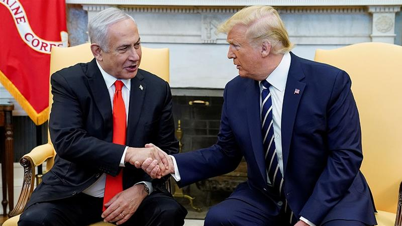 US President Donald Trump greets Israel's Prime Minister Benjamin Netanyahu in the Oval Office of the White House in Washington, DC [Kevin Lamarque/Reuters]