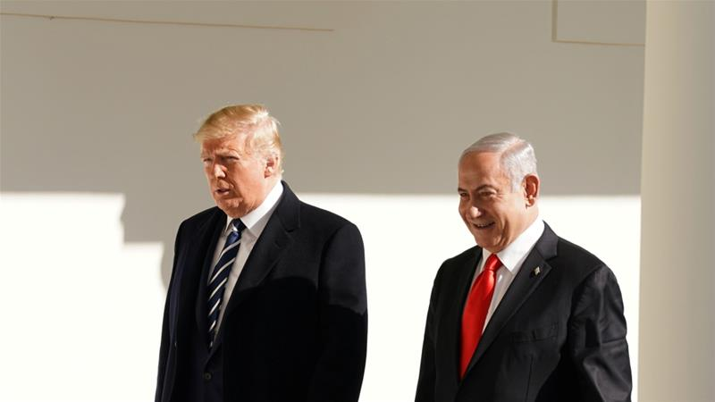 US President Donald Trump meets with Israeli Prime Minister Benjamin Netanyahu in the White House in Washington DC [Kevin Lamarque/Reuters]