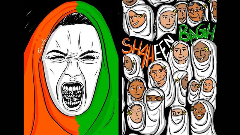 Tanzeela's illustration of the woman in the tricolour hijab has resonated with protesters [Courtesy of Tanzeela]