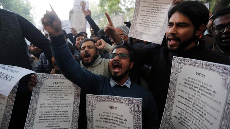 Demonstrators shout slogans during a protest against the Citizenship Amendment Act in New Delhi, India [File: Adnan Abidi/Reuters]