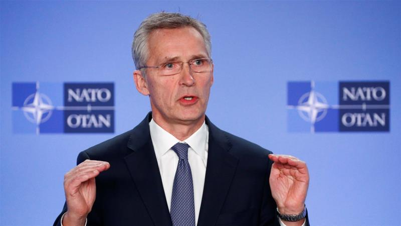 NATO Secretary-General Jens Stoltenberg briefs media after a meeting of the alliance's ambassadors about the security situation in the Middle East, in Brussels [Francois Lenoir/Reuters]