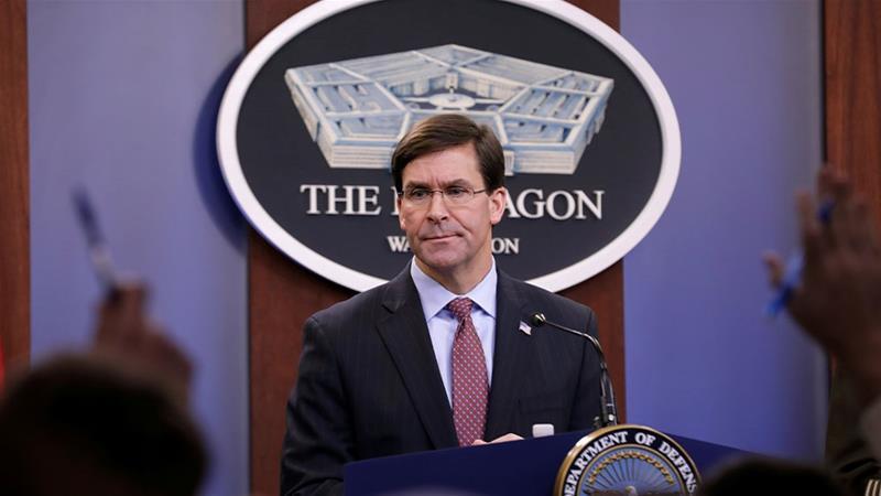 US Defense Secretary Mark Esper speaking during a press briefing in the Pentagon in Arlington, Virginia, US [Yuri Gripas/Reuters]