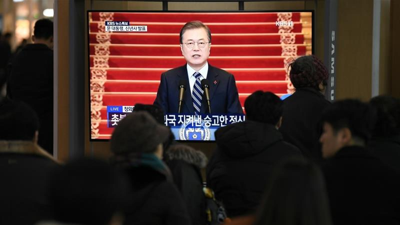 In his annual address to the nation, Moon said security and prosperity on the Korean Peninsula were dependent on resolving international tensions, but the two Koreas could achieve progress through cooperation [Jung Yeon-je/AFP]