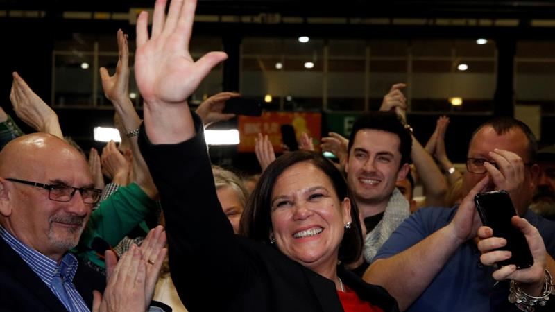 Sinn Fein leader Mary Lou McDonald reacts after the announcement of voting results in a count centre, during Ireland's national election, in Dublin [Phil Noble/Reuters]