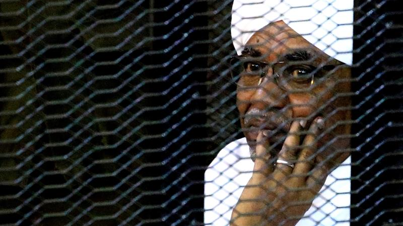 Former president al-Bashir sits inside a cage at the court where he is facing corruption charges, in Khartoum, September 28, 2019 REUTERS/Mohamed Nureldin Abdallah [Reuters]