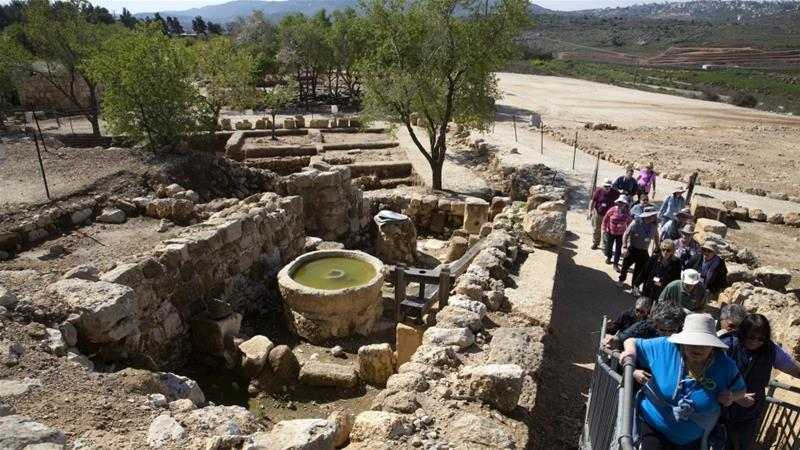 Image: Tourists visit the archaeological site of Tel Shiloh in the West Bank, March 12, 2019 [File: AP Photo/Sebastian Scheiner]