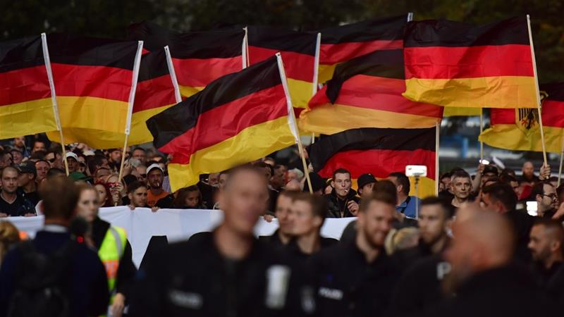 Nationalists march in Chemnitz, the flashpoint eastern Germany city that saw protests marred by neo-Nazi violence, in September 2018 [File: John Macdougall/AFP]