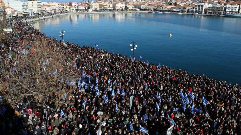 Thousands of Lesbos residents protested last month against overcrowded migrants camps on the island [Elias Marcou/Reuters]