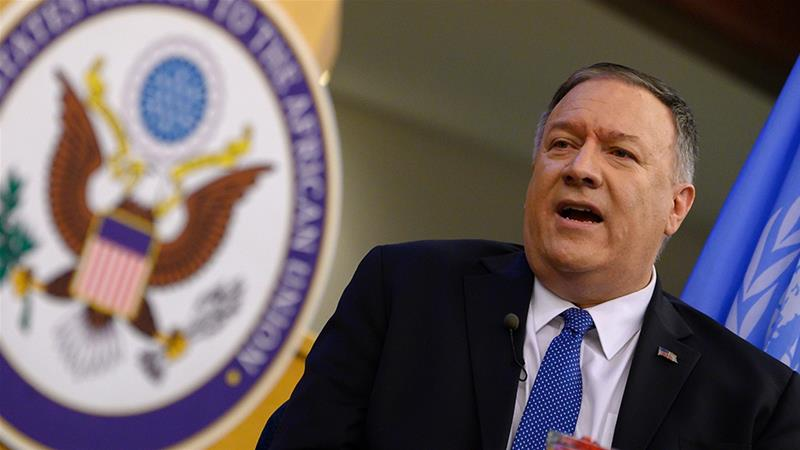 US Secretary of State Mike Pompeo speaks at the United Nations Economic Commission for Africa in Addis Ababa [Andrew Caballero-Reynolds/AP Photo]