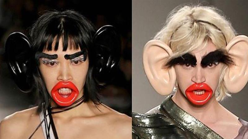 Early this month, FIT hosted a fashion event where models were asked to wear prosthetic ears, lips and black, bushy eyebrows [Instagram]