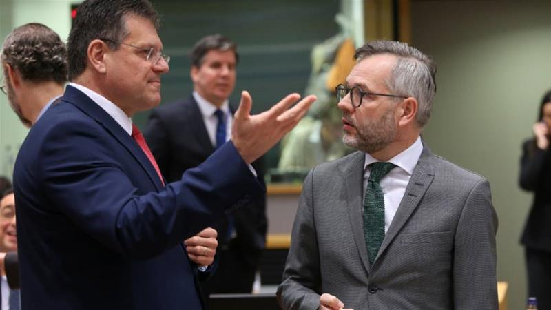 European Commission Vice President Maros Sefcovic, left, and German Minister of State for European Affairs Michael Roth were among those diplomats at the EU's General Affairs Council [Francois Walschaerts/Reuters]