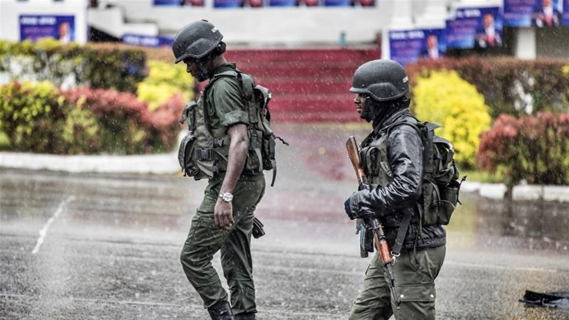 Members of the Cameroonian Gendarmerie patrol Omar Bongo Square of Cameroon's majority anglophone South West province [File: Marco Longari/AFP]