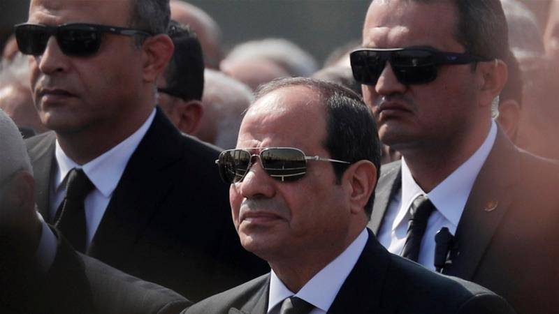 Egyptian President Abdel Fattah el-Sisi attends the funeral of former President Hosni Mubarak east of Cairo on February 26, 2020 [Reuters/Amr Abdallah Dalsh]
