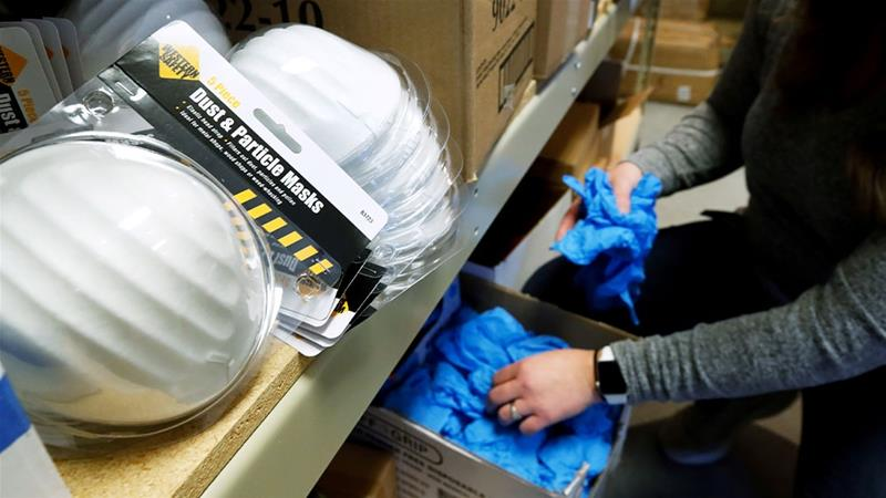 Personal protection equipment kits on shelf during preparations against the novel coronavirus, in Midway, Utah [George Frey/Reuters]