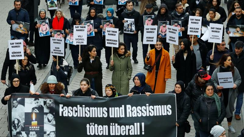Protesters demonstrate against far-right radicalism and racism in Hanau, near Frankfurt, Germany, February 22, 2020 [Ralph Orlowski/Reuters]