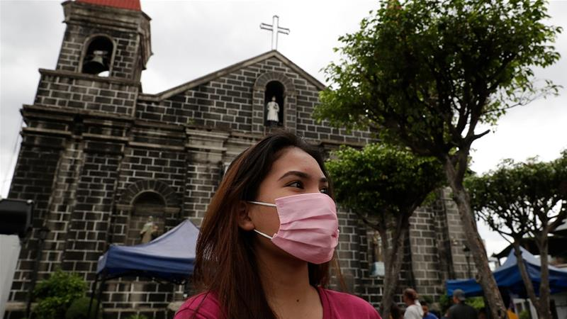 The news of the first coronavirus death outside China came as Filipinos headed to Sunday mass