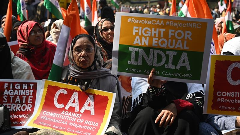 Women from Shaheen Bagh, a Muslim neighbourhood in New Delhi, protesting against the new citizenship law [File: Sajjad Hussain/AFP]