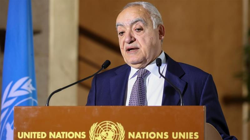 UN Envoy for Libya Ghassan Salame holds a news briefing in the run-up to UN-brokered military talks in Geneva [Denis Balibouse/Reuters]