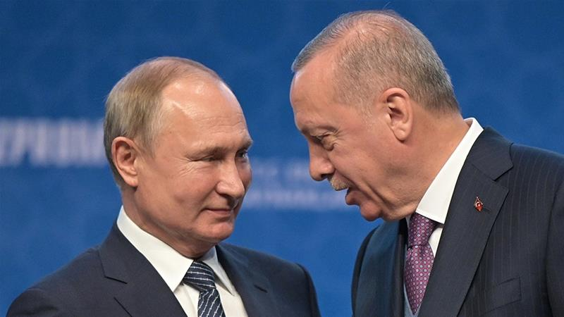 The leaders of Russia and Turkey are thought to enjoy a good personal relationship [File: Alexei Druzhinin/Sputnik via Reuters]