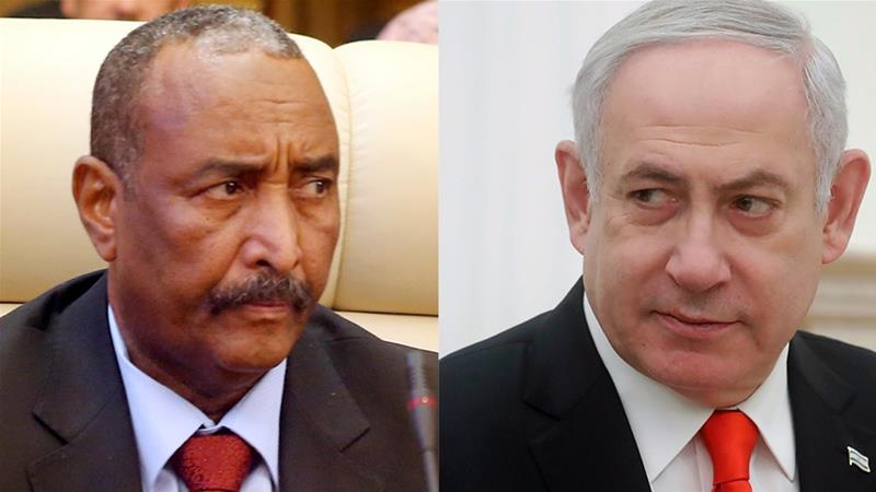 Abdel-Fattah Burhan (L) and Benjamin Netanyahu (R) [File: AP Photo]