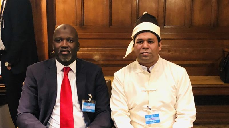 Gambian Justice Minister Abubacarr Tambadou and Tun Khin seen at the ICJ as they attend the ruling in the case filed by the Gambia against Myanmar in January 2020 [File: Courtesy of Tun Khin]