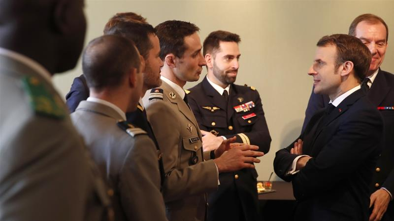 French President Emmanuel Macron meets military officials before delivering a speech at the Ecole Militaire, on February 7, 2020, in Paris [Francois Mori/AFP]