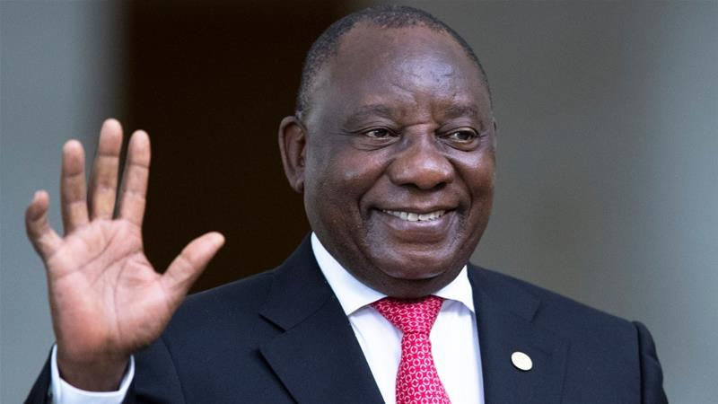 South Africa's President, Cyril Ramaphosa, greets the media prior to the BRICS summit in Brasilia, Brazil on November 14, 2019 [Pavel Golovkin/Reuters]
