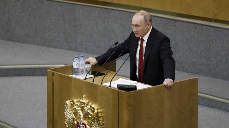 Russian President Vladimir Putin speaks during a session prior to voting for constitutional amendments at the State Duma on March 10, 2020 [AP/Pavel Golovkin]