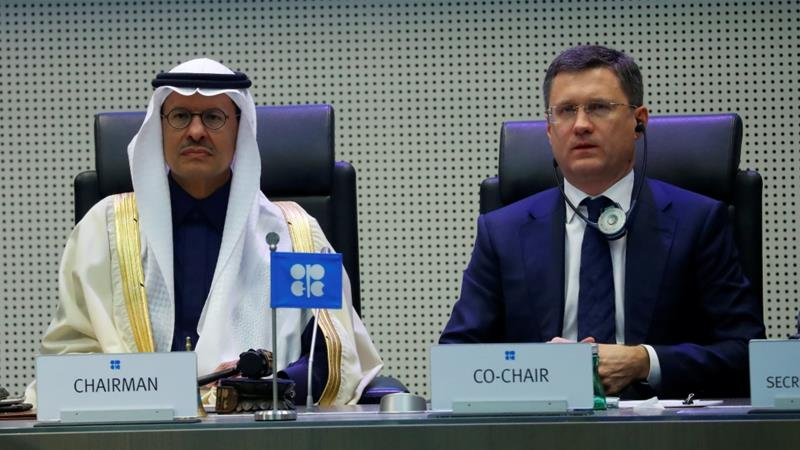 Saudi Minister of Energy Prince Abdulaziz bin Salman Al-Saud and his Russian counterpart Alexander Novak are seen at an OPEC and NON-OPEC meeting in Austria Dec 6, 2019 [Leonhard Foeger/Reuters]