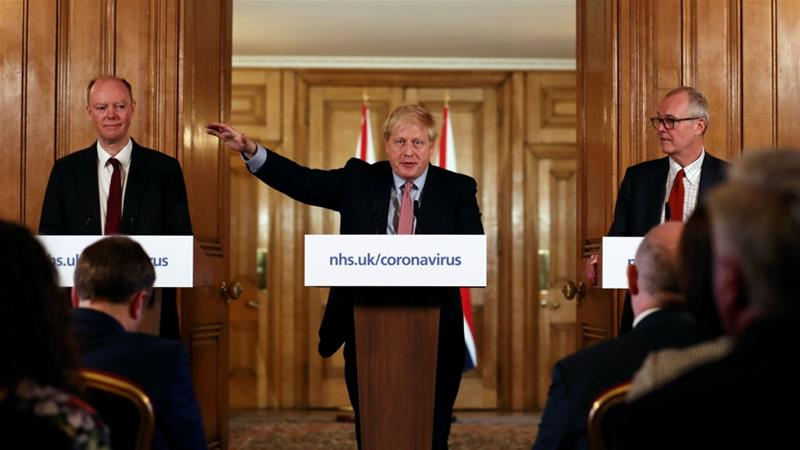 British Prime Minister Boris Johnson attends a news conference in London addressing the government's response to the coronavirus outbreak [Simon Dawson/Pool/Reuters]