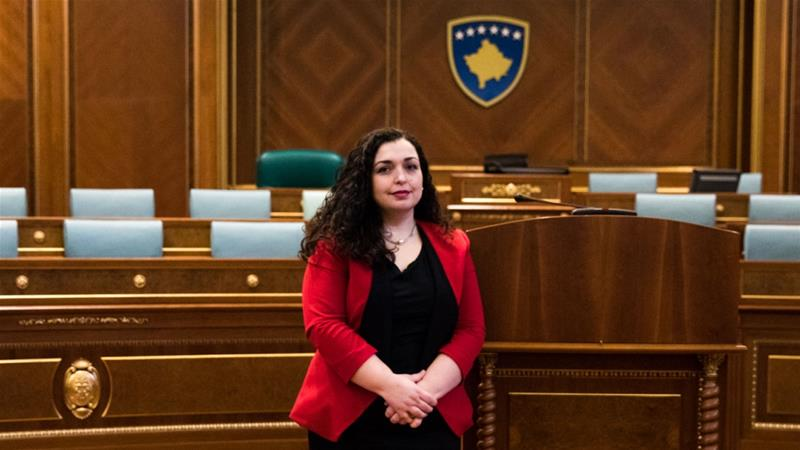 Vjosa Osmani, the first woman elected Speaker of the Assembly in Kosovo, inside the plenary hall at the Assembly in Pristina [Valerie Plesch/Al Jazeera]
