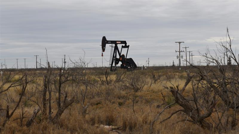 A pump jack operates in the Permian Basin oil and natural gas production area near Odessa Texas in the United States