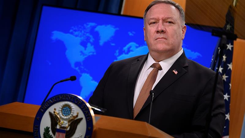 US Secretary of State Mike Pompeo attends a news conference at the State Department [File: Andrew Caballero-Reynolds/Reuters]