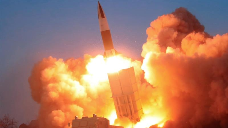 A suspected missile is fired in this image released by North Korea's Korean Central News Agency on March 22, 2020 [KCNA/via Reuters]