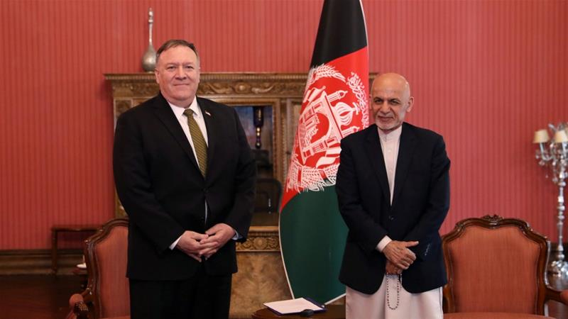 Afghanistan''s President Ashraf Ghani (R) and U.S. Secretary of State Mike Pompeo, pose for a photo during their meeting in Kabul, Afghanistan on March 23, 2020 [Reuters]