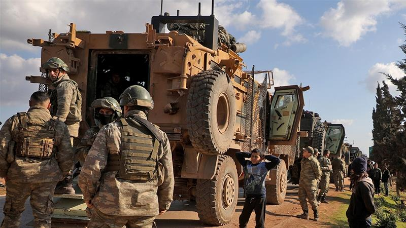 Turkey says it has downed three Syrian fighter jets and killed dozens of regime soldiers and allied fighters in its Idlib operation [Aaref Watad/AFP]