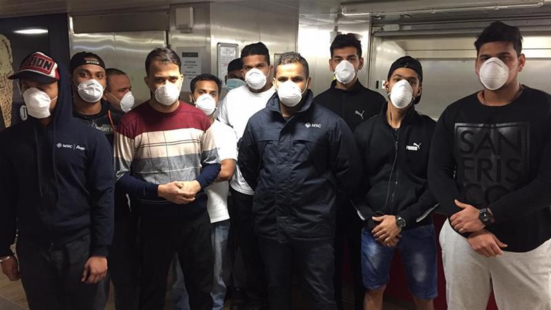 The stranded Indian crew members on board MSC Grandiosa, currently docked in Italy [Al Jazeera]
