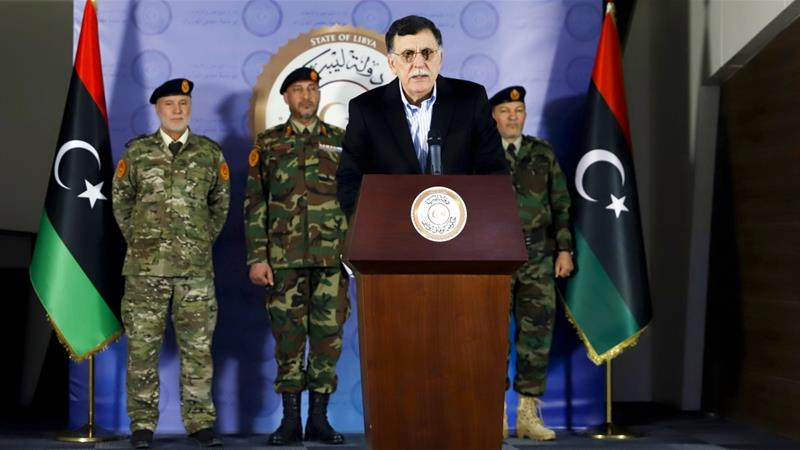 Al-Sarraj said Haftar bombed Tripoli's 'residential zones, civil institutions and even the public hospital of Al Khadra'  [AFP]