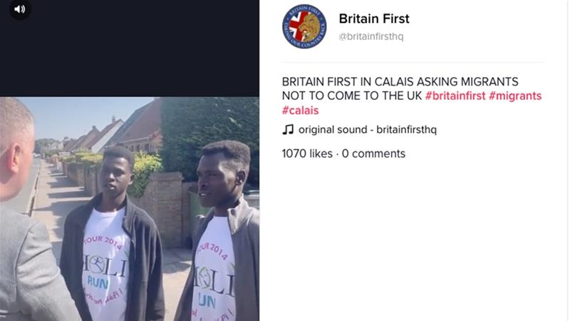 Britain First posted a video on TikTok showing its leader Paul Golding telling two men in Calais: 'We don't want any more migrants coming to our country' [Screengrab/TikTok]