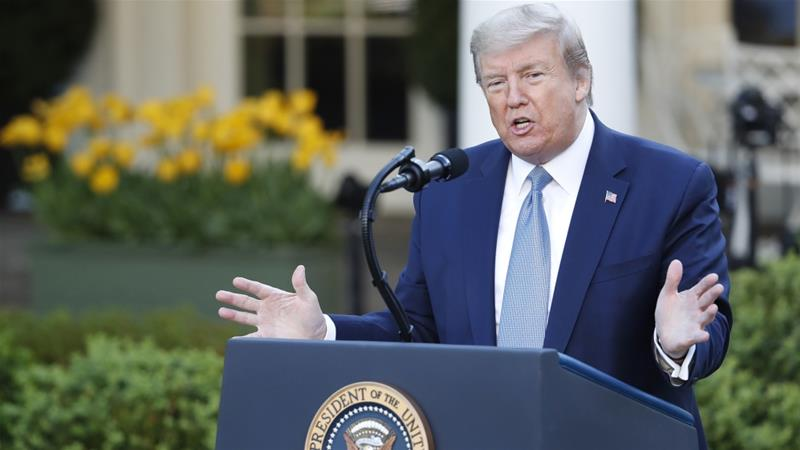 Trump takes questions during the Coronavirus Task Force briefing on the COVID-19 pandemic in the Rose Garden at the White House in Washington, DC on April 15, 2020 [Shawn Thew/Pool/EPA-EFE]