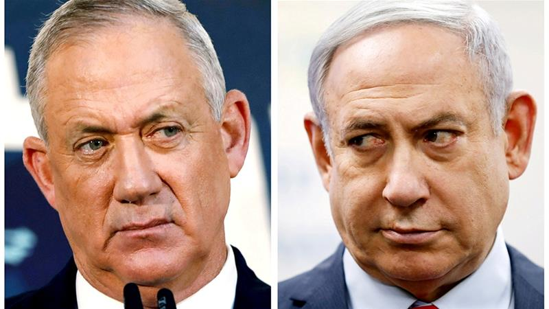 A combination picture shows Benny Gantz, leader of Blue and White alliance and Israeli Prime Minister Benjamin Netanyahu [File:Corinna Kern, Amir Cohen/Reuters]