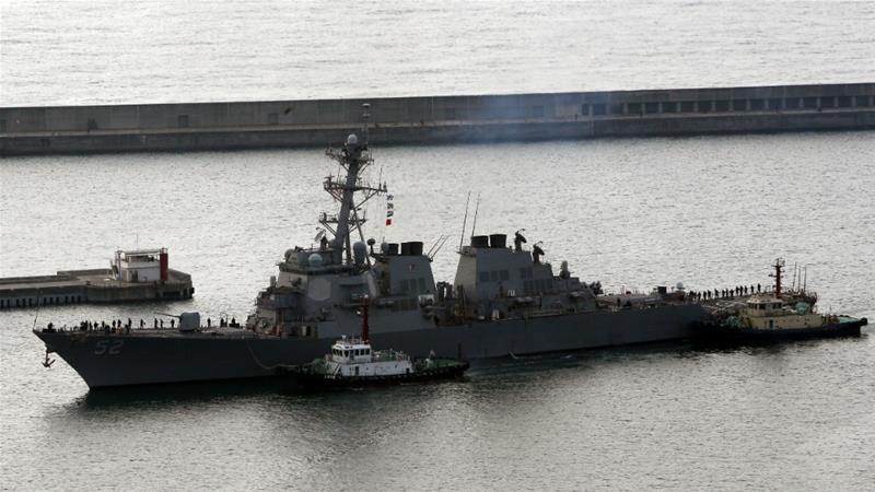 The Arleigh Burke-class guided-missile destroyer USS Barry pictured at port in the South Korean city of Busan [File: Yonhap via EPA]